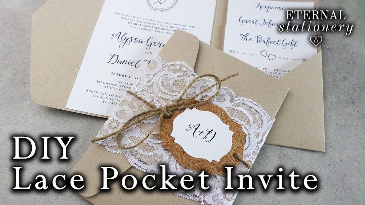 Wedding Invitation Pockets How To Make Rustic Lace Pocket Wedding Invitations With Cork Tag
