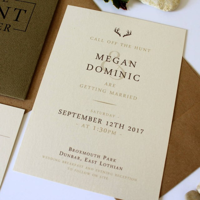 Wedding Invitation Pockets The Hunt Is Over Stag Pocket Wedding Invitation Suite Vanilla
