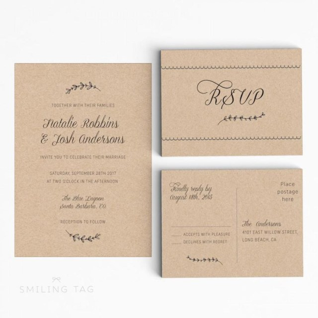 Wedding Invitation Size Printable Wedding Invitation Suite Rustic Wedding Invitation