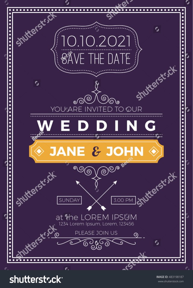 Wedding Invitation Size Vintage Wedding Invitation Card A 5 Size Stock Vektorgrafik