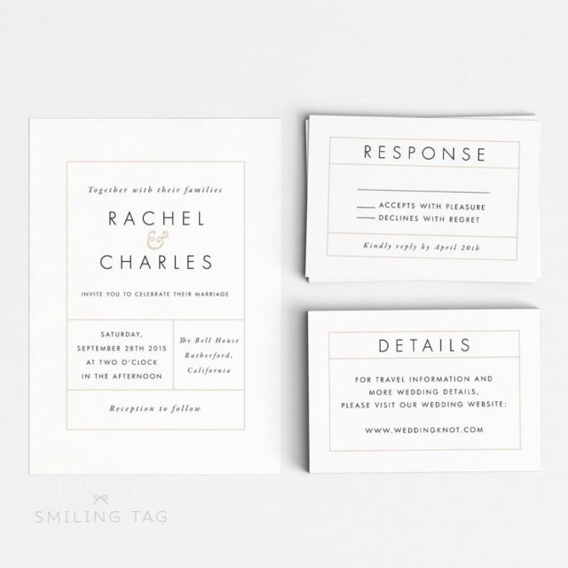 Wedding Invitation Size Wedding Invitation Printable Suite Printable Modern Minimalist