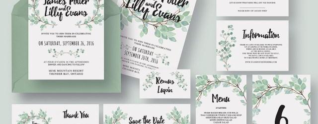Wedding Invitation Suite Eucalyptus Wedding Invitation Suite