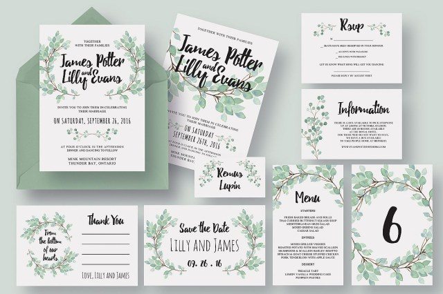 Wedding Invitation Suite Eucalyptus Wedding Invitation Suite