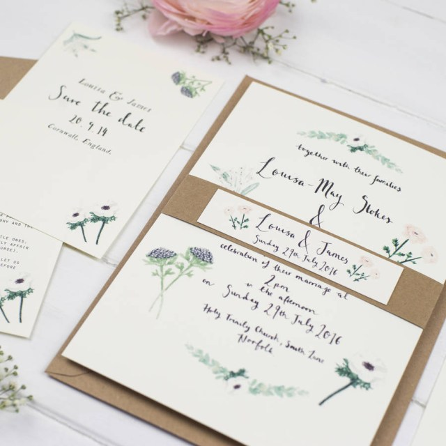 Wedding Invitation Suite Louisa Watercolour Wedding Invitation Suite Wildflower