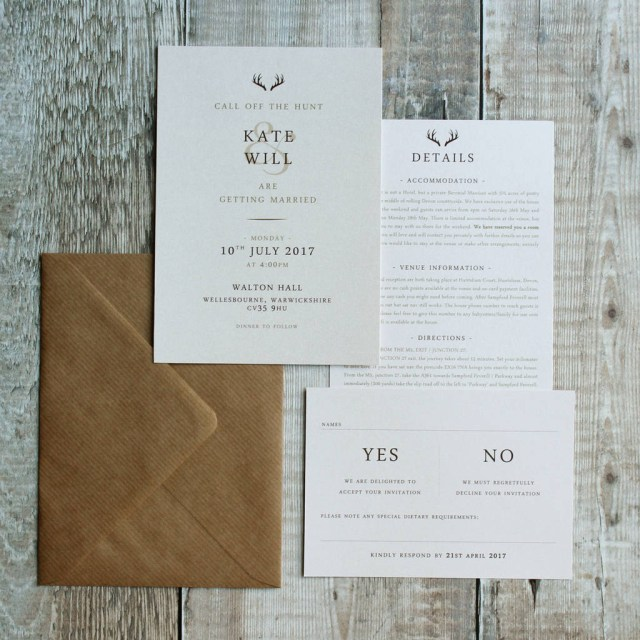 Wedding Invitation Suite The Hunt Is Over Stag Pocket Wedding Invitation Suite Vanilla