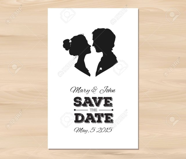 Wedding Invitations And Save The Dates Save The Date Wedding Invitation With Profile Silhouettes Of