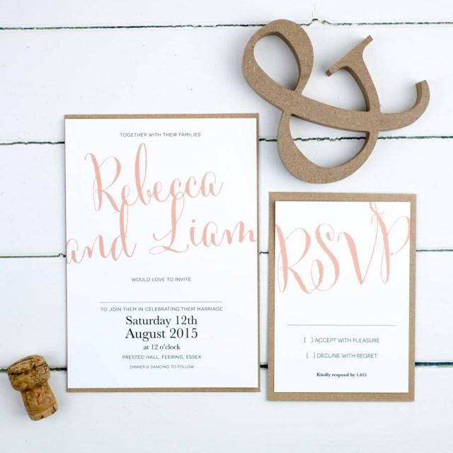Wedding Invitations Essex Calligraphy Script Wedding Invitation Russet And Gray