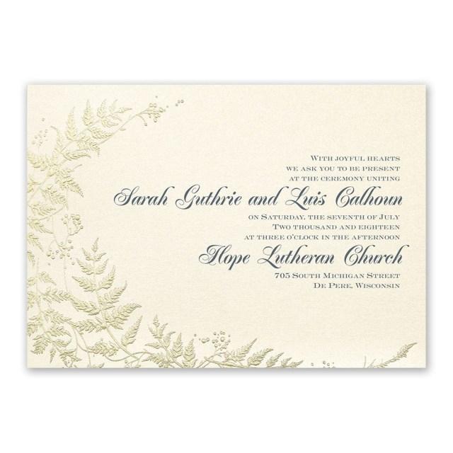 Wedding Invitations Gold Ferns Of Gold Invitation Invitations Dawn