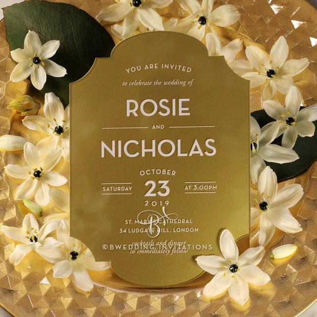 Wedding Invitations Gold Glamorous And Glistening Gold Acrylic Wedding Invitation