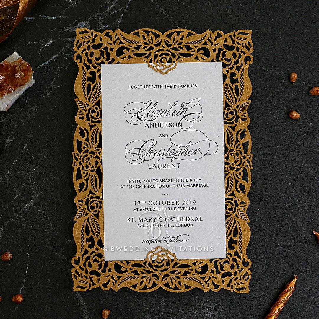 Wedding Invitations Gold Laser Cut Wedding Invitation Floral Pocket Swirls In Gold