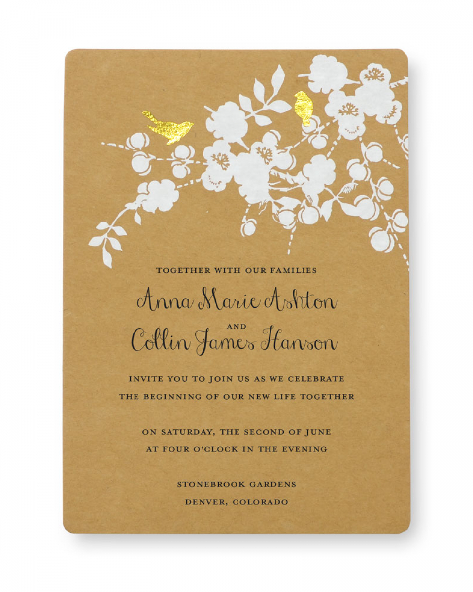 Wedding Invitations Gold Print At Home Invitation Kit Gold Foil Birds Gartner Studios