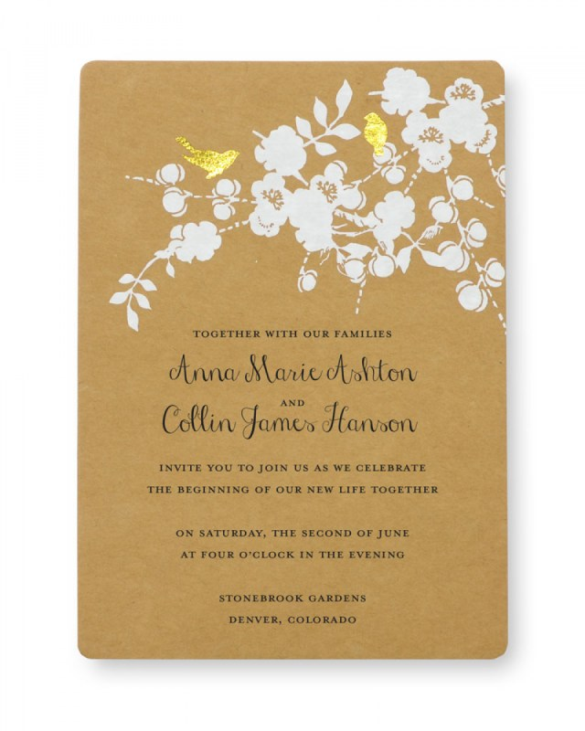 Wedding Invitations Gold Print At Home Invitation Kit Gold Foil Birds Gartner Studios