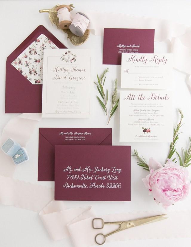 Wedding Invitations Gold Rose Gold Foil Floral Wedding Invitation Heather Obrien Design