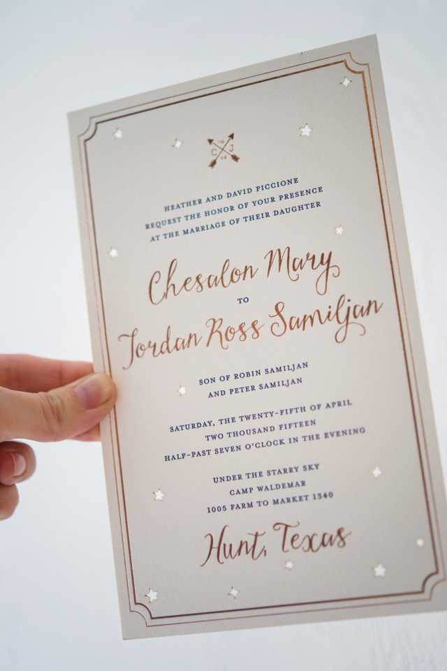 Wedding Invitations Gold Rose Gold Foil Night Sky Wedding Invitations