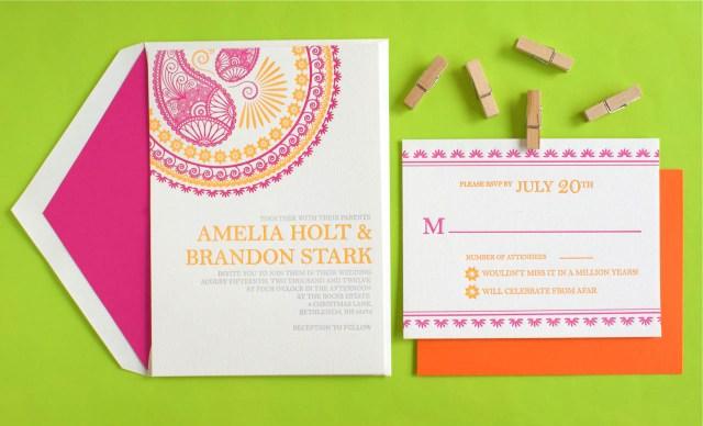Wedding Invitations Indian Indian Pattern Letterpress Wedding Invitations