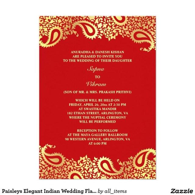 Wedding Invitations Indian Paisleys Elegant Indian Wedding Flat Invitation Wedding