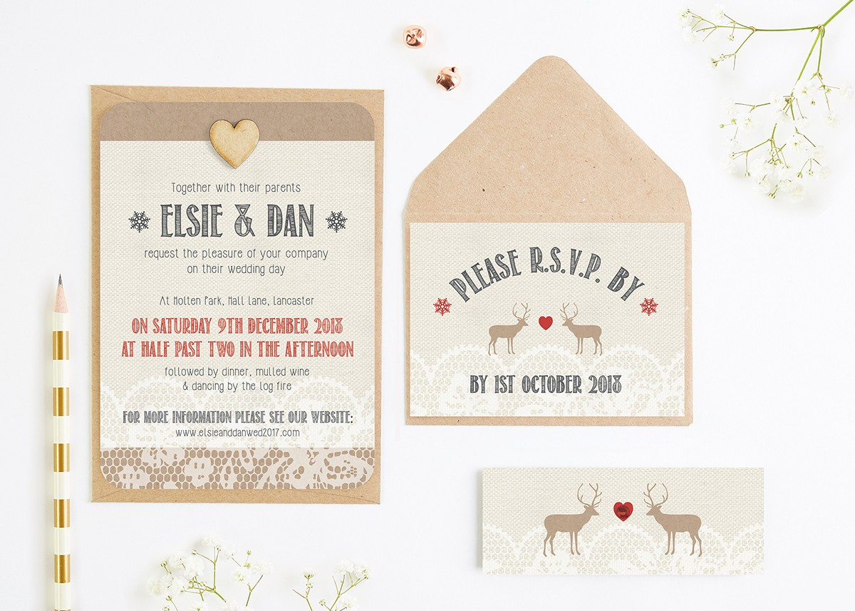 Wedding Invitations With Photos Lace Stag Wedding Invitations Normadorothy