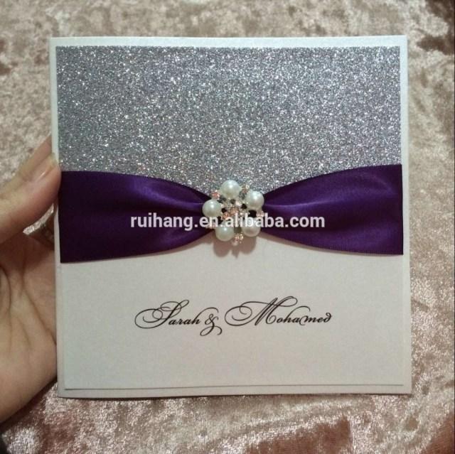 Wedding Invitations With Purple Ribbon 2018new Style Handmade Glitter Paper Purple Ribbon Hot Sale Wedding