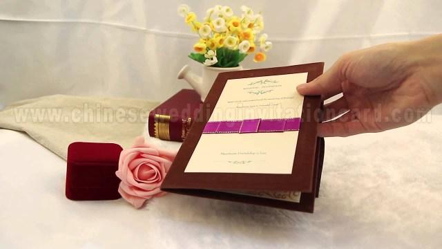 Wedding Invitations With Purple Ribbon Brown Leather Hard Paper Wedding Invitation Card With Purple Ribbon