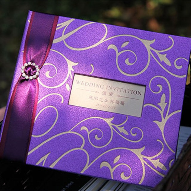 Wedding Invitations With Purple Ribbon Classic Wedding Invitations Card Gold Embossed Design With Purple