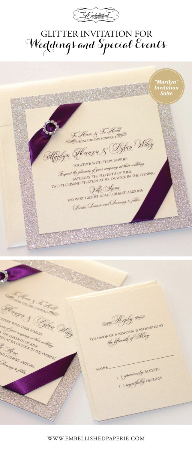 Wedding Invitations With Purple Ribbon Couture Glitter Wedding Invitation Ivory Metallic With Silver