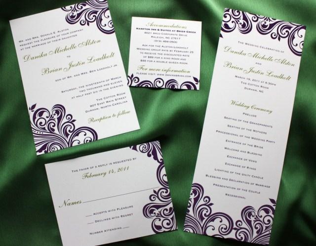 Wedding Invitations With Purple Ribbon Dark Purple Swirl With Green Accents Damask Wedding Invitations