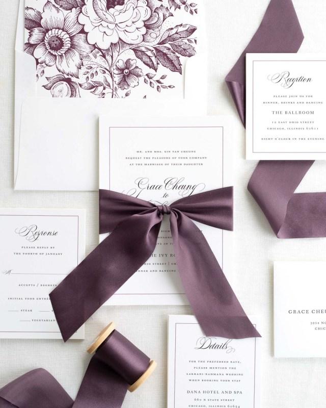 Wedding Invitations With Purple Ribbon Grace Ribbon Wedding Invitations Ribbon Wedding Invitations Shine