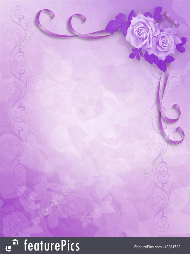 Wedding Invitations With Purple Ribbon Lavender Roses Wedding Invitation Illustration