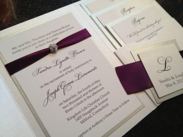 Wedding Invitations With Purple Ribbon Purple And Cream Onepaperheart Stationary Invitations