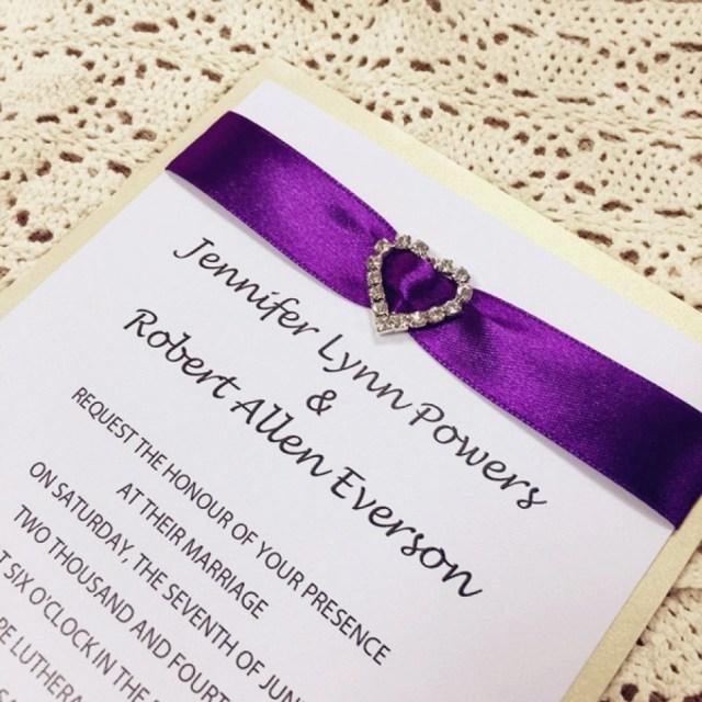 Wedding Invitations With Purple Ribbon Purple And Gold Wedding Invitations Elegant Classic Purple Ribbon
