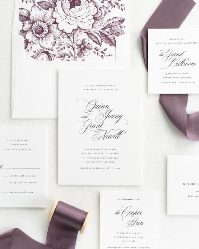 Wedding Invitations With Purple Ribbon Romantic Wedding Invitations With Mulberry Silk Ribbon Wedding