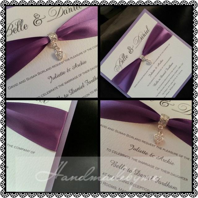 Wedding Invitations With Purple Ribbon Silver Heart Day Invitation Belle Handmade Me