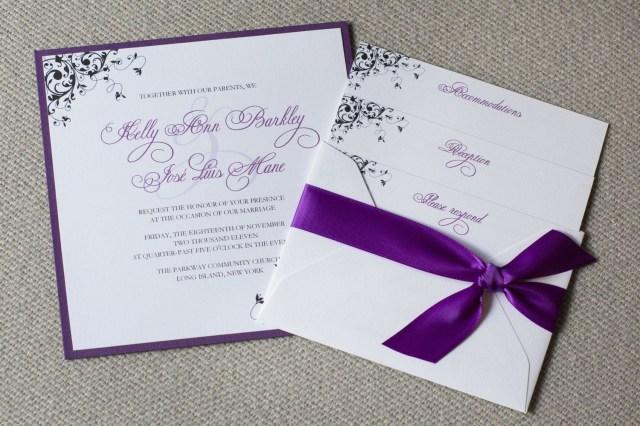 Wedding Invitations With Purple Ribbon Square Wedding Invitation Purple Wedding Eleven18designstudio