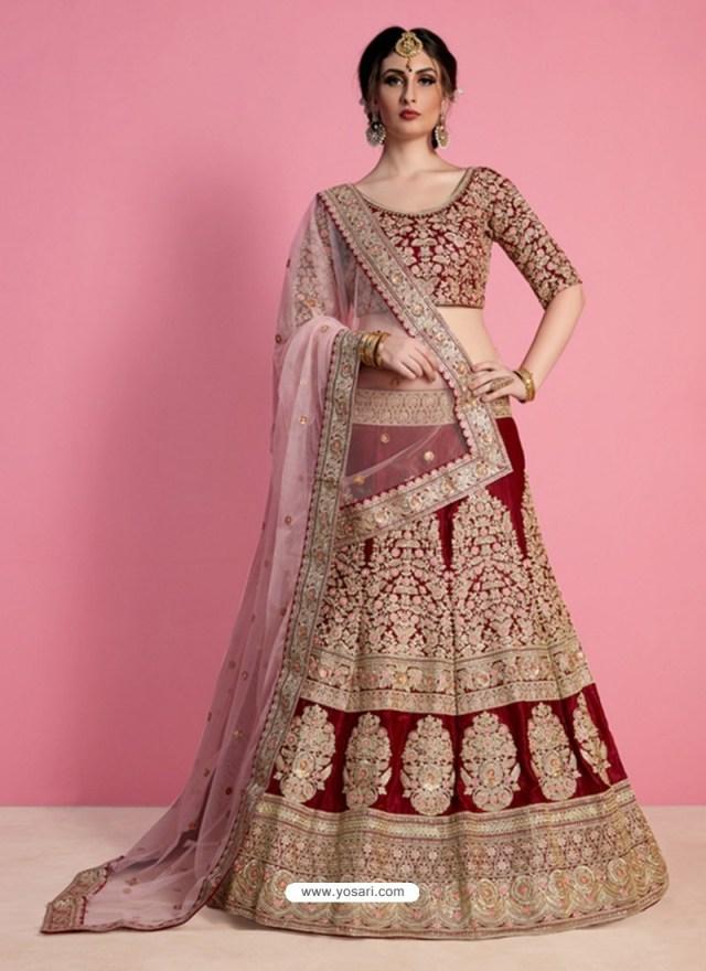 Wedding Lehengas Bridal Buy Perfect Maroon And Golden Silk Desinger Wedding Lehenga Choli