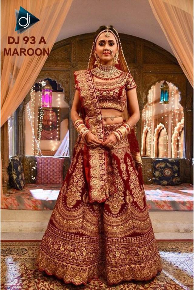 Wedding Lehengas Bridal Dj 93 Maroon Velvet Embroidered Designer Traditional Attractive Look