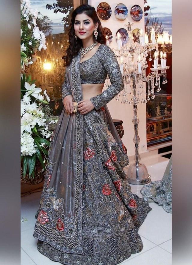 Wedding Lehengas Bridal Heavy Embroidered Mono Net Grey Bridal Wedding Lehenga