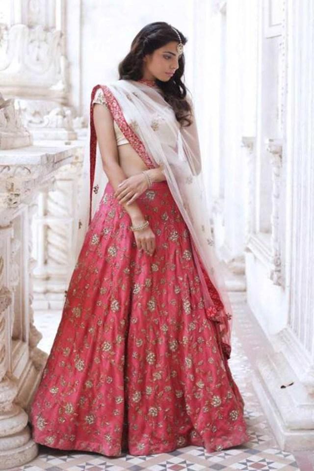 Wedding Lehengas Bridal Lotus Pink White Color Indian Wedding Lehengas For Bride