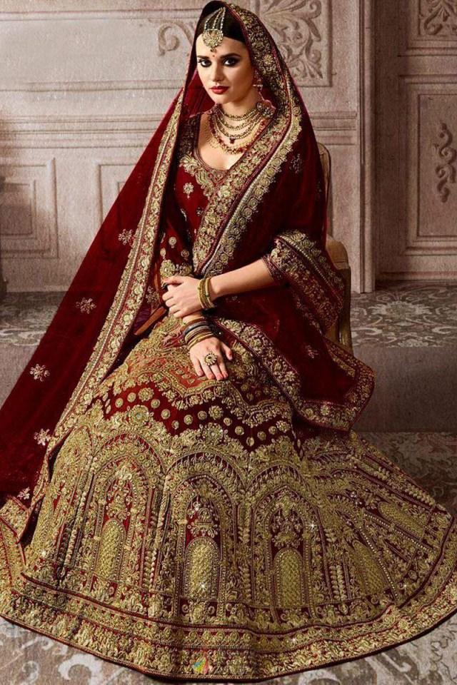 Wedding Lehengas Bridal Maroon Kerala Bride Silk Codding With Mirror Work Wedding Lehenga Choli
