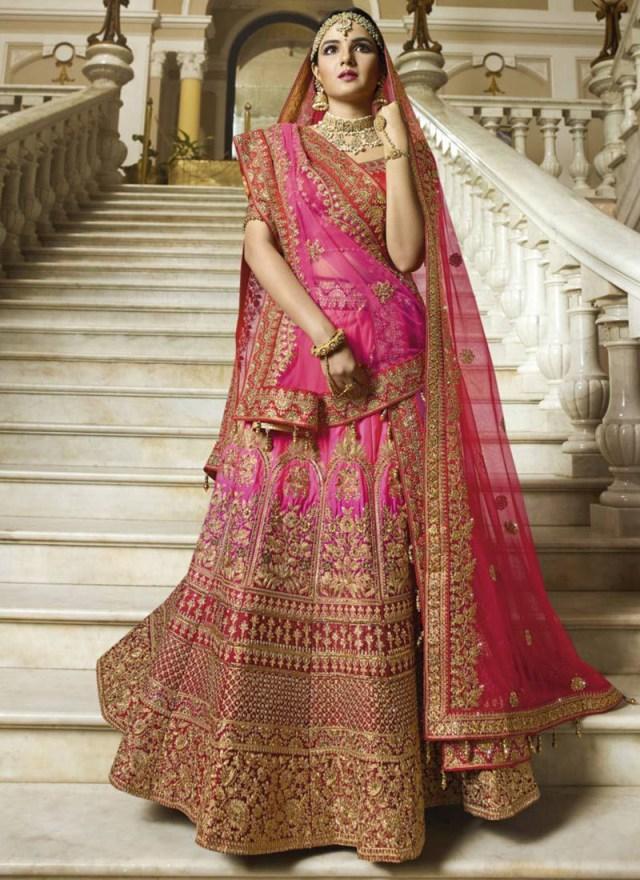 Wedding Lehengas Bridal Pink Heavy Embroidered Indian Wedding Lehenga Choli 13177