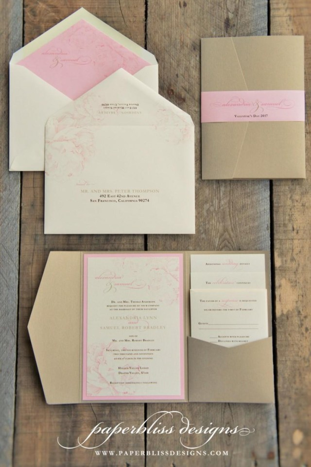 Wedding Pocket Invitations Blush Pink Peony Wedding Invitation Suite Pink And Gold Wedding
