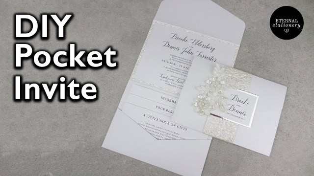 Wedding Pocket Invitations Elegant Pocketfold Invitation With Belly Band Diy Wedding
