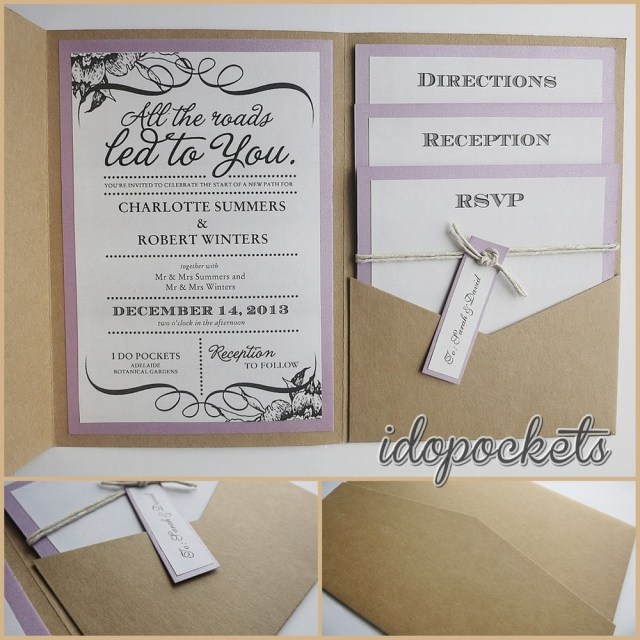 Wedding Pocket Invitations Kraft Wedding Pocket Invitations Diy Pocketfold Envelopes Brown