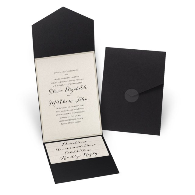 Wedding Pocket Invitations Luxe Elegance Black Pocket Invitation Invitations Dawn
