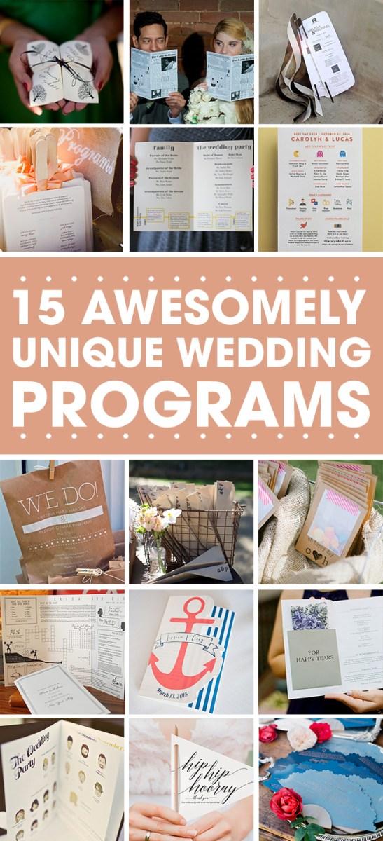 Wedding Program Ideas 15 Fabulous Unique Wedding Program Ideas