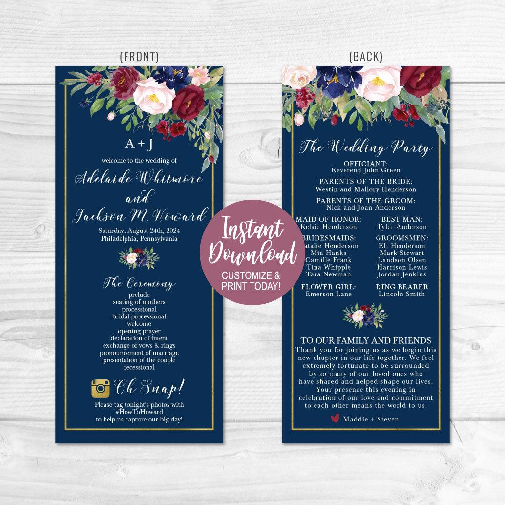 Wedding Program Ideas Wedding Program Thank You Template Wedding Program Ideas Etsy