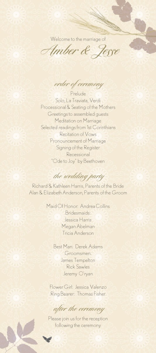 Wedding Program Ideas Wedding Program Wording Wedding Program Copy Wedding Program Text