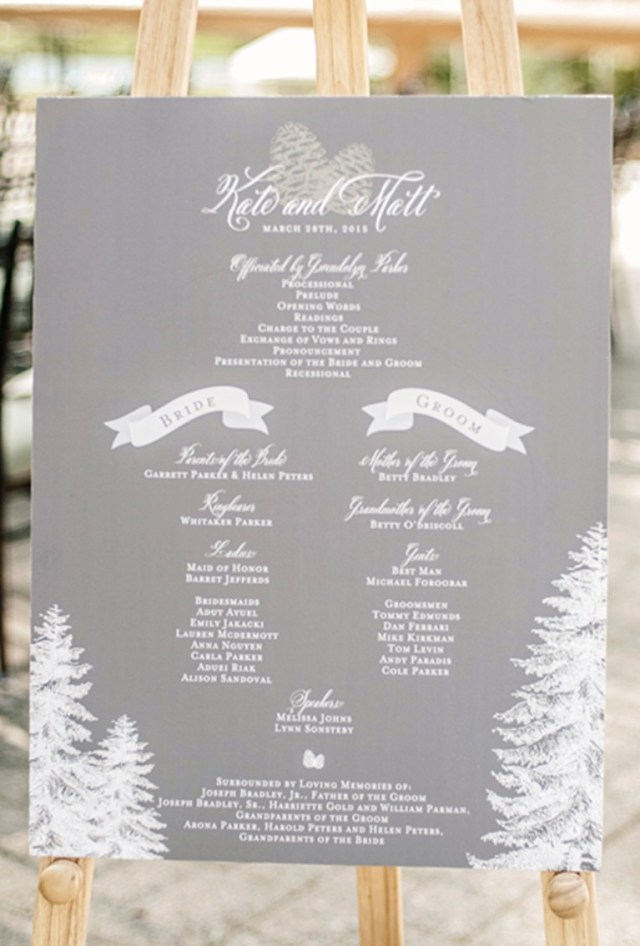 Wedding Program Ideas Winter Wedding Program Sign Brides