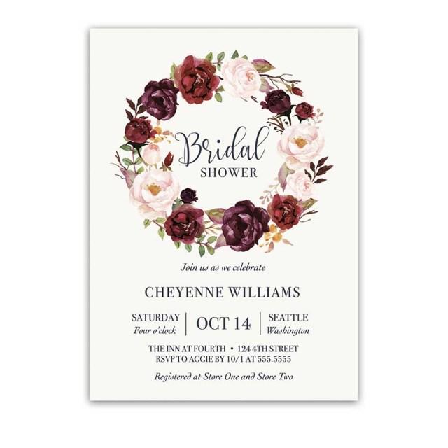 Wedding Shower Invitation Burgundy Floral Bridal Shower Invitation Watercolor Wreath