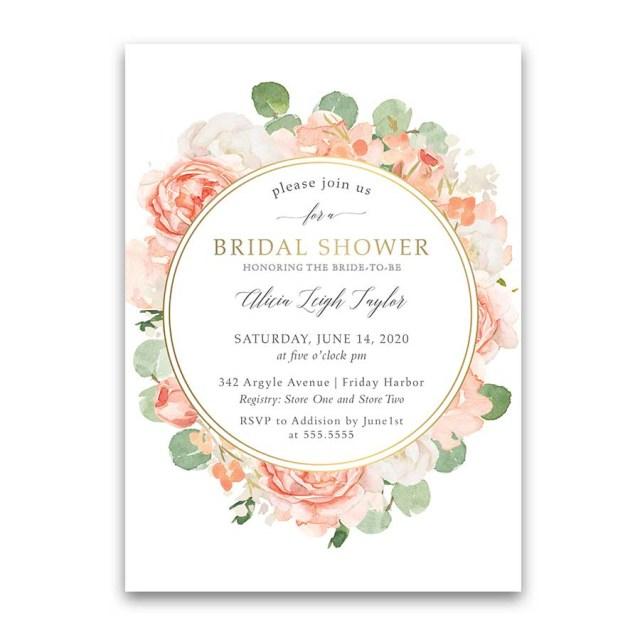 Wedding Shower Invitation Floral Bridal Shower Invitations Peach Gold Floral Greenery