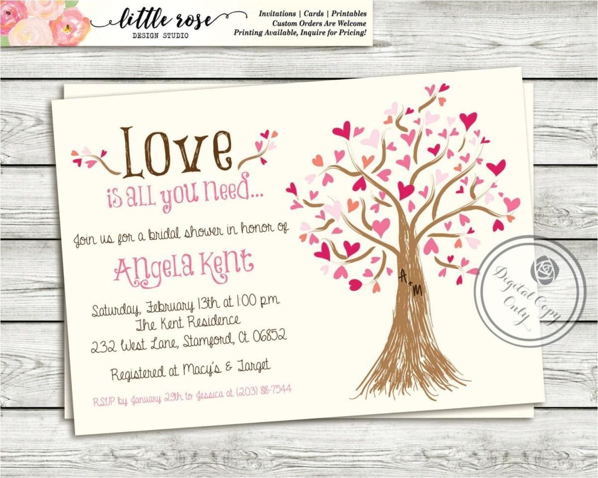 Wedding Shower Invitations Wording Bridal Money Tree